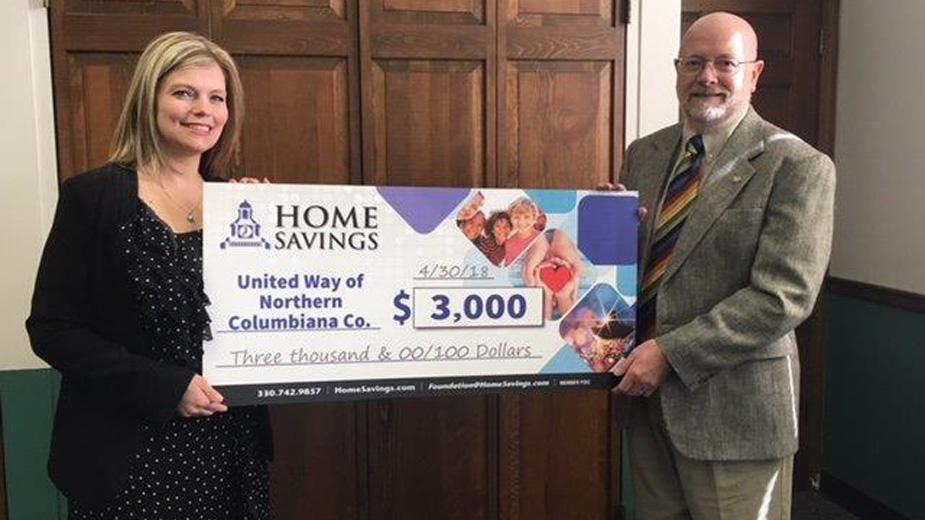 Home Savings Gives $3K to Columbiana United Way