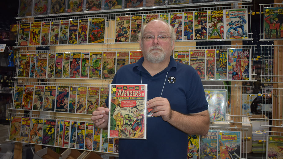 John Haines of John Haines Rare Comics with a copy of Avengers No. 1 at Youngstown Comic Con