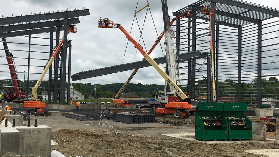 Structural steel can be seen rising where Ellwood Quality Steels is constructing a $60 million addition to its New Castle plant